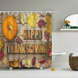 "Thanksgiving Holiday shower curtain: The shower curtain with pumpkin and leaves printing is classic autumn view and perfect for holiday. This shower curtain 72""x72"" size will fit standard size shower / tub areas. With high quality digital print tech,..."