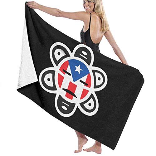 Ewtretr Toalla de Playa Puerto Rico Flag Sun Tribal Sol Taino Microfiber Beach Towels Quick Dry Super Absorbent Bathing SPA Pool Towels, 31