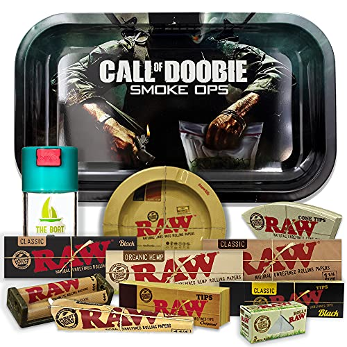 Bandeja para liar Call of Duty 27,5cm x 17,5cm + Cenicero RAW + Bote Antiolor THE BOAT + Maquina de liar 79mm + Papel Raw 1 1/4 Organic, Black y Classic + Tips Maestro, Orgánico y Classic.