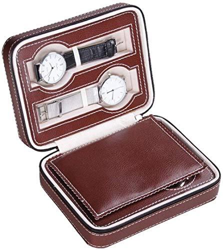 Caja de reloj portátil con 4 compartimentos, caja de reloj de viaje, estuche de cuero sintético con cierre organizador de relojes, colección pequeña_marrón