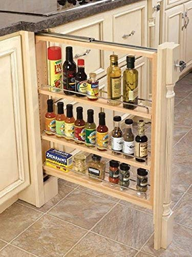 "Rev-A-Shelf 432-BF-3C 3"" Wood Base Cabinet Pullout Filler Organizer with Adjustable Shelves"