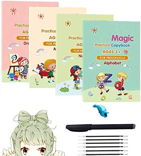 Caligrafía mágica que se puede reutilizar, juego de cuadernos de escritura a mano para niños con bolígrafo mágico