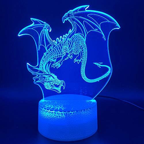 Led-nachtlampje, 3D-vision-zeven, kleuren-afstandsbediening, fantoomlamp, nachtlampje, draak, kantoor, kamerdecoratie, verlichting voor kinderen, slaapkamer, nachtlampje, dinosaurus, pterodactylnachtlampje