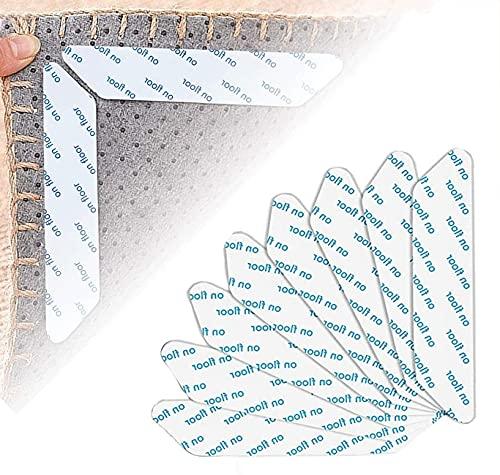 Pinzas para Alfombras,24 piezas de cinta antideslizante para alfombras,Antideslizante Alfombra Pinzas,Reutilizable und Lavable Bases Antideslizantes,para Alfombras para Interiores y Exteriores(Blanco)