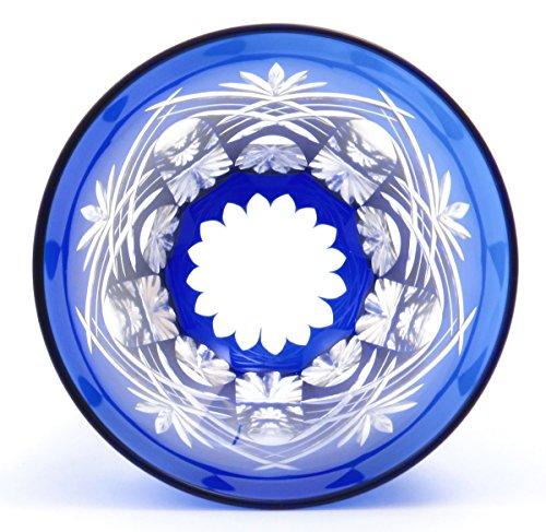 すみだ江戸切子館焼酎グラス(化粧箱入)重ね剣矢来(藍)KY-44