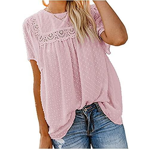 Mayntop Camiseta sin mangas de manga corta para mujer, B-rosa, 38