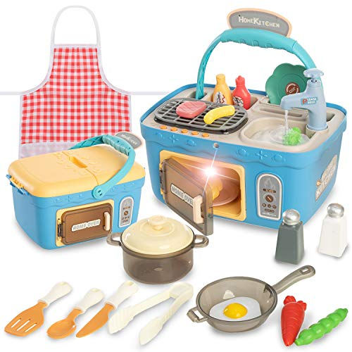 JOYIN Kids Play Kitchen Picnic Playset Portable Picnic Basket Toys with Musics amp Lights Color Changing Play Food Kitchen Sink Toys and Pretend Play Oven Kitchen Toy Sets Gift for Kids Boys Girls