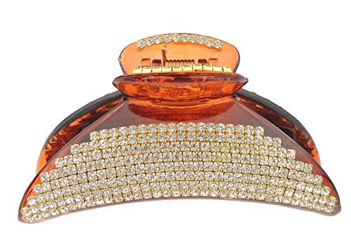 Tort Brown - Molletta per capelli ricurva con cristalli di diamante, 9 cm