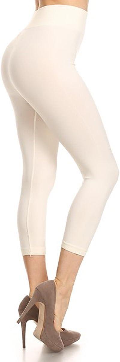 YELETE Women's One Size/Plus Size Solid Seamless Biker Capri Full Length Leggings