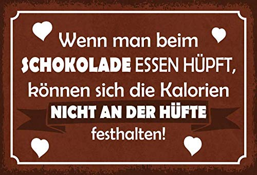 Metalen bord bij de chocolade eten hijpen, calorieën niet aan de heup vasthouden in Sign 20x30cm