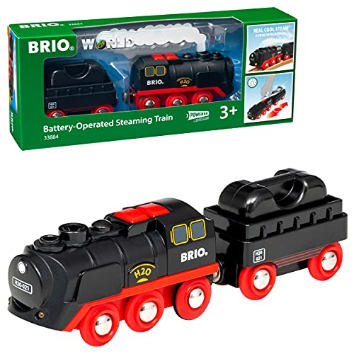 BRIO World 33884 Battery-Operated Steaming Train | Toy Train with Light and Steam Effects for Kids Age 3 and Up