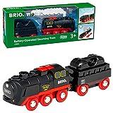 Brio World - 33884 - Locomotive à piles à vapeur - Train électrique émettant de la vraie vapeur - Pour circuit de train en bois - Jouet mixte à partir de 3 ans