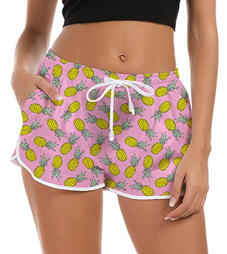 Women Board Shorts Funny Pink Pineapple Swim Trunk Brief Stretch Ladies Teen Girl Hawaiian Travel Outdoor 3D Graphic Surfing Swimsuit Bottom Running Swimwears Pool Bikini Beach Shorts Sleepwear Pant M