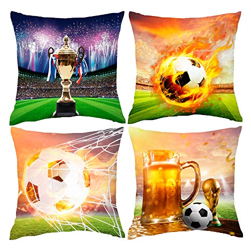 HOSTECCO Soccer Throw Pillow Covers Sports Football Pillow Cases Decorative Linen Cushion Covers for Sofa Bed Office Car 18x18 inches Set of 4