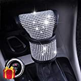 SPANICE Bling Bling Auto Shift Gear Cover, Leather Auto Gear Shift Knob Cover with Crystal Glitter Bling Rhinestones for Girls,Lady Universal Fit (White)