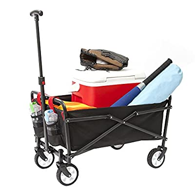 YSC Wagon Garden Folding Utility Shopping Cart,Beach Red (Navy Blue) (Regular, Black)