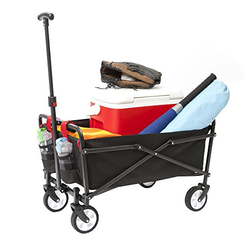 YSC Wagon Garden Folding Utility Shopping Cart,Beach Red (Navy Blue) (Regular, Black)