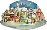 Papier Adventsalender 'Kleine Stadt im Mondschein', nostalgischer Weihnachtskalender für Erwachsene und Kinder.