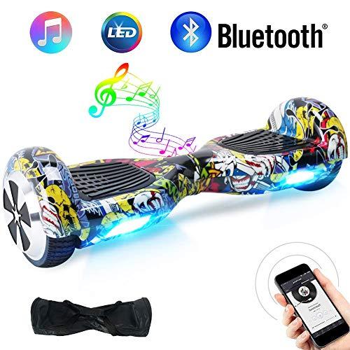 """TOEU - Patinete Eléctrico Hoverboard, Ruedas de 6.5"""", Leds, Potente batería de Litio, Bluetooth, Self Balancing, monopatín eléctrico Auto-Equilibrio (hiptop-BT)"""