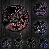 XYLLYT Reloj de Pared con Registro de Vinilo para fotografía, decoración del hogar, Obturador, Lente, cámara de película, Digital Retro, sesión de Fotos, Reloj de Pared artístico para fotógrafo