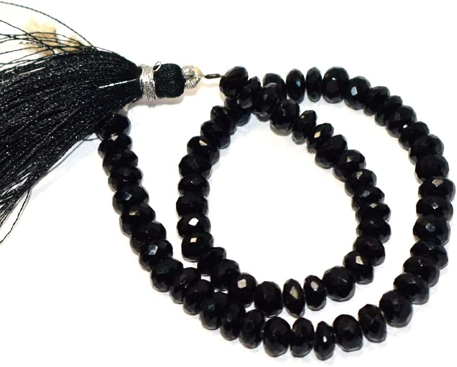 Natural Black Spinal Faceted Max 76% trust OFF Rondelle Gems Approx Shape 6-6.50mm