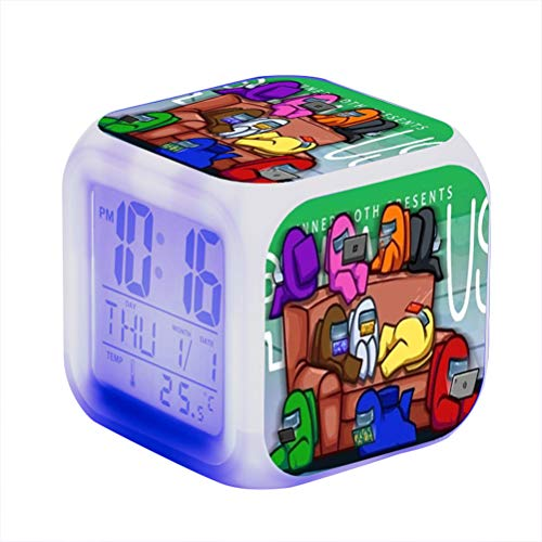 Among Us Relojes de alarma, Among Us Juego Figura Luminosa LED Despertador, Colorido Flash luz del Escritorio, Colorido Cambio de Color de la Plaza del Reloj Reloj Dormitorio para la oficina en casa