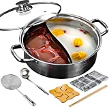 """Stainless Steel Hot Pot Shabu Shabu Pot HotPot with Divider and Lid (with Divider 11"""")"""