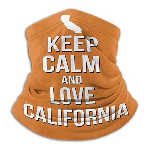 """asdew987 Funda para cuello con texto en inglés """"Keep Calm Love California Cite"""" con mapa sobre fondo naranja, tema turístico Estado americano naranja y blanco"""