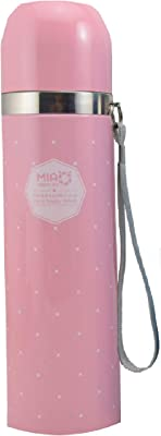 Best Stainless Steel Thermos Bottle - New Triple Wall Insulated - BPA Free - Hot Coffee or Cold Tea + Drink Cup Top - Perfect for Office (Pink, 500 ml)