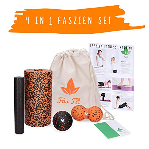 Fas Fit Faszienrolle - Foam Roller Set - Massagerollen & Faszienbälle - Faszien Rolle für EIN effektives Faszientraining – inkl. Poster, Übungsheft, E-Book und Turnbeutel (Orange - 4 in 1 Set)