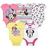 Disney Minnie Mouse Girl's 5-Piece Short Sleeve Baby Bodysuit Onesie Set, Pink/White/Yellow, Size 6-9 Months