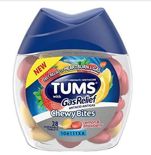 28 unidades (1 paquete) Tums masticables comprimidos con alivio de gas - limón y fresa - Antacid Plus alivio de gas