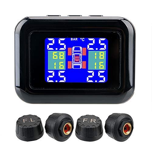 NOPNOG Sistema de control de presión de neumáticos para coche, conector para encendedor de cigarrillos, pantalla LCD, con 4 sensores externos