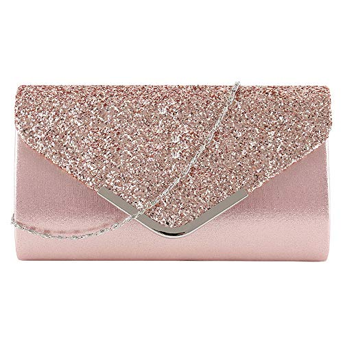 MEGAUK Damen Clutch Glitzer Elegant Abendtasche Glänzend Handtasche Envelope Tasche Strass Unterarmtasche mit Kette für Hochzeit Wedding Prom Party (Mode Rosa)