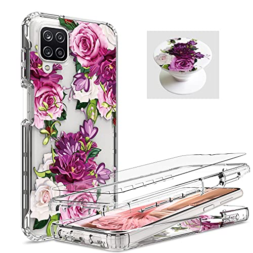 [ 3 Items ] AMPURSQ for Samsung A12 Case with Screen Protector, Samsung A12 Case for Women Girl Shockproof Protective Purple Floral Design Case for Samsung Galaxy A12 (Purple Floral)