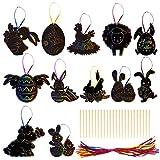 Kit di Scratch Art Uova di Pasqua decorazione da appendere con corda, disegno Gratter per bambini, hobby creativi di Pasqua e regali