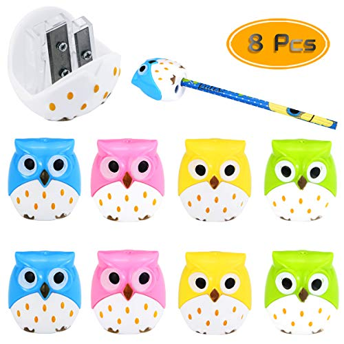 Fyess 8PCS Cute Cartoon Pencil Sharpeners, Novelty Animal Owl Pattern Double Holes Pencil Sharpeners Twin Hole Sharpeners Creative Stationery School Prize For Graphite Pencils (4 Color)