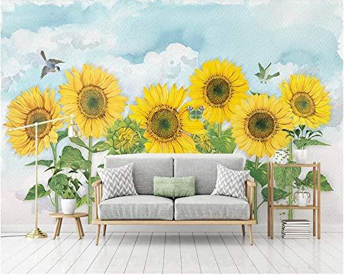 papeles de pared decoración para el hogar Nordic Super Silky Stereo Wallpaper Simple pintado a mano Sunflower Sky TV Sofa Background behang 300 * 210cm