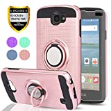 YmhxcY LG Optimus Zone 3 Case, LG Spree Case,LG Rebel LTE Case with HD Phone Screen Protector, 360 Degree Rotating Ring & Bracket Dual Layer Resistant Back Cover for LG K4 (2016)/VS425-ZH Rose Gold