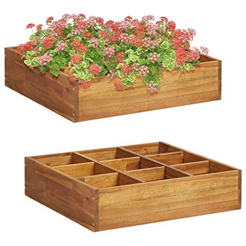 Garten-Hochbeet für Kräuter ,Spalier Gartenspalier Blumenkasten Rankkasten Rankgitter Rankhilfe Blumenkübel Pflanzkasten,Massivholz,Akazie 60 x 60 x 15 cm