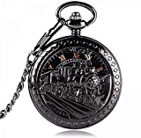 ZHANGYY Exquisito Hombres Mujeres Negro Correr Locomotora Reloj de Bolsillo mecánico Esqueleto Mano Viento Reloj Antiguo Colgante Reloj de Bolsillo Regalos para la Familia
