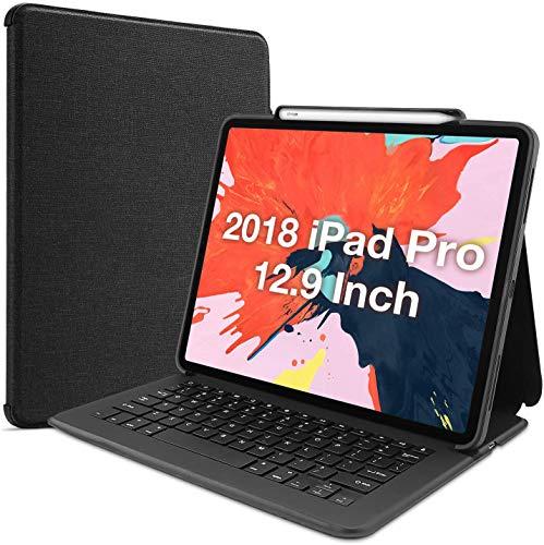 ProCase Custodia con Tastiera per iPad Pro 12.9 2018(US Layout), Custodia Protettiva Folio Stand Cover con Tastiera Wireless Senza Fili per Apple iPad Pro 12.9 3rd Gen(Apple Pencil Non Inclusa) -Nero