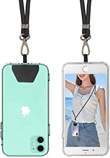 SS Phone Lanyard, Cell Phone Lanyard with Adjustable Detachable Neckstrap and Phone Tether, Phone Strap Compatible with All Smartphones-Black