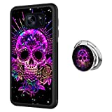 Designed Purple Sugar Skull Samsung Galaxy S7 Case with Buckle Ring 360° Rotatable Silvery Durable Ring Buckle, TPU Black Antiskid Tread Phone Case for Samsung Galaxy S7