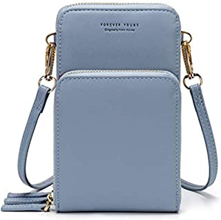 Womens Small Leather Crossbody Phone Purse Shoulder Bag Travel Messenger Handbag Pouch Cellphone Holster Cover Wallet Case Card Holder for iPhone 8 Plus Xs Max X Xr 7/6 Plus Samsung S10+ (Light)