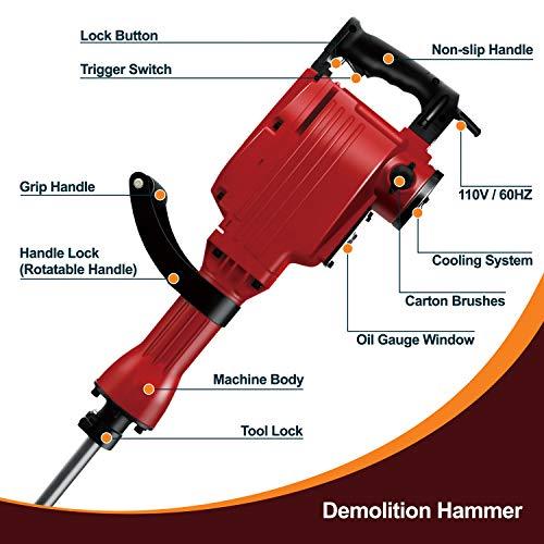 Toolman Electric Demolition Jack Hammer works with DeWlat Makita Accesories (Jack Hammer14.0 A)