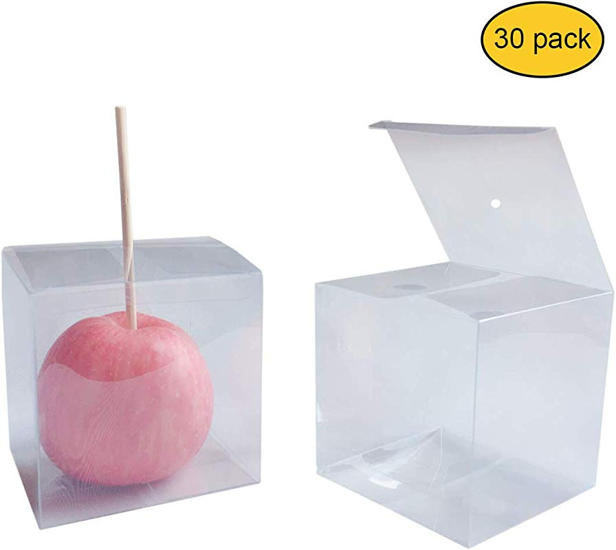 30 PCS Clear Candy Apple Box With Hole Top 4 X 4 X 4 PET Gift Boxes For Caramel Apples Ornaments Wedding Party And Baby Shower Favors Food In Safe