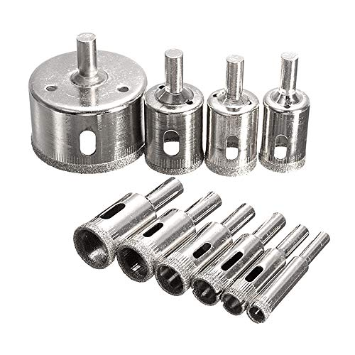 Diamantbohrer Set,3mm-50mm Fliesenbohrer 10 Stück Lochsäge Bohrkrone für Glas, Fliese, Keramik,Marmor, Porzellan, Granit Bohrer