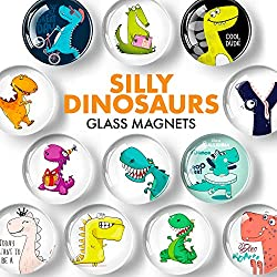 3. X-bet MAGNET Store Silly Dinosaurs Glass Fridge Magnets (12 pieces)