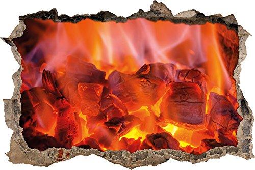 Pixxprint 3D_WD_2077_92x62 Beruhigendes Feuer Wanddurchbruch 3D Wandtattoo, Vinyl, bunt, 92 x 62 x 0,02 cm